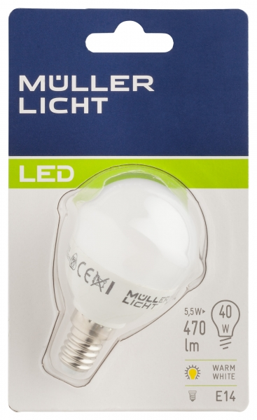 Müller Licht LED Lampe E14 5,5W 470Lm Warmweiss